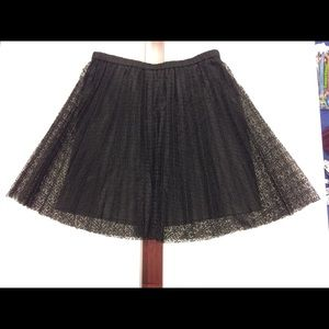 Pleated Blk Lace Skirt